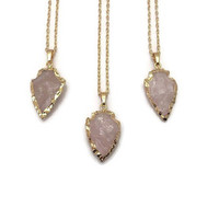 Rose Quartz Necklace - Rose Quartz Arrowhead Necklace - Bridesmaid Gift - Rose Quartz Necklace - Quartz Arrowhead Pendant - Gemstone Jewelry