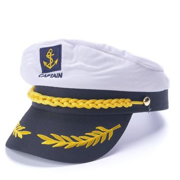 7e91ac53348 White Yacht Captain Navy Marine Skipper Ship Sailor Military Nautical Hat  Cap Costume Adults Party Fancy