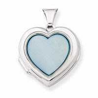 Sterling Silver Blue Mother of Pearl Heart Locket