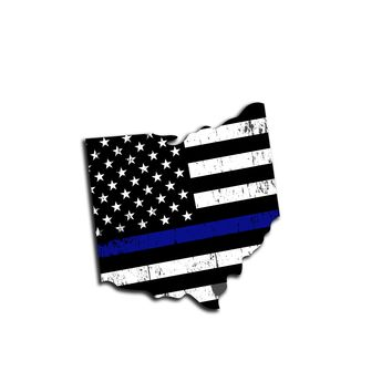 Ohio Distressed Subdued US Flag Thin Blue Line/Thin Red Line/Thin Green Line Sticker. Support Police/Firefighters/Military
