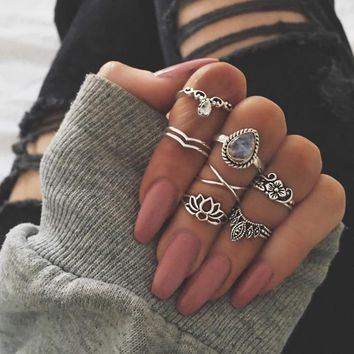 RscvonM 7pcs/set Fashion Vintage Punk Midi Rings Set 2018 Antique silver Color Boho Female Charms Jewelry Knuckle Ring For WOMEN