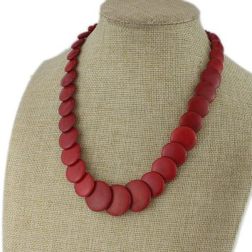 Korean jewelry New Red Turquoise Necklace Large Red Clavicle Chain Textured Beaded Necklace Loss Clearance LL