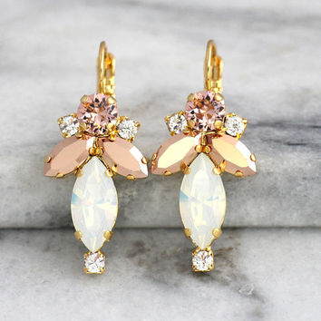 Opal Bridal Earrings, White Opal Earrings, Bridal Blush Drop Earrings, Rose Gold Opal Dangle Earrings, Bridal Blush Earrings, Drop Earrings