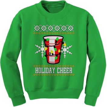 Holiday Cheer Red Cup Ugly Christmas Adult Crewneck Sweatshirt