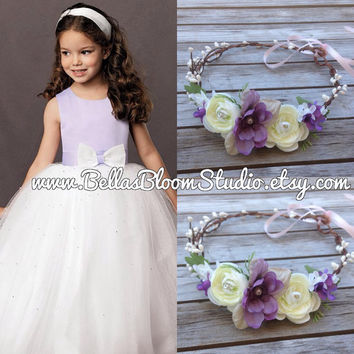 Juliana Purple flower crown, Lavender flower halo, plum hair crown, flower girl crown