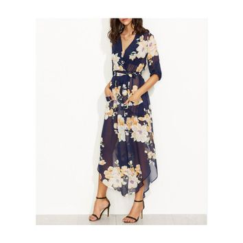 Elegant V-Neck Print Long Dress Mid-CaLf Length Going Out Dresses