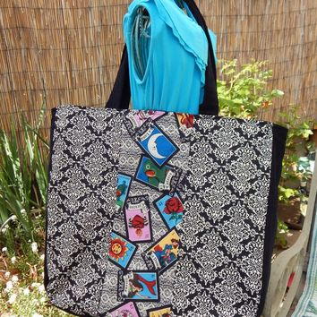 Big Tote Loteria Cards and Lace with  Black Corduroy Market Bag