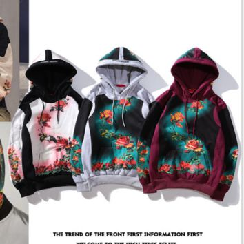 Flower Print Cap Jacket Loose Hip hop Jacket [4106827071524]