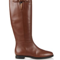 House-check trim leather riding boots | Burberry London | MATCHESFASHION.COM US