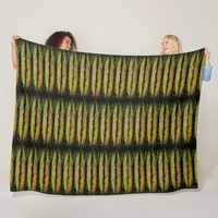 Angel Wings Green Yellow Rhythmic Pattern Fleece Blanket