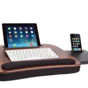 Sofia + Sam Multi Tasking Memory Foam Lap Desk (Wood Top) | Supports Laptops Up To 15 Inches Wood Top Without USB Light '