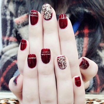Wine Red Nail Art Fake Nail With Glitter Acrylic Full Cover Square False Nails For Girls Women Nail Decoration FM88