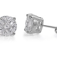 925 Sterling Silver CZ Rhodium Plated Casting Invisible Round Stud Earrings CZ DIAMOND April Birthstone