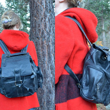 Vintage 70's Distressed Leather Bohemian Daypack Backpack