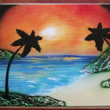 sunset spray paint art,sunset spray painting,ocean poster,sunset wall art,beach home decor,palm tree art,large,original,24*30,landscape