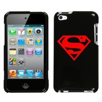 APPLE IPOD TOUCH ITOUCH 4 4TH RED SUPERMAN SYMBOL ON A BLACK HARD CASE COVER