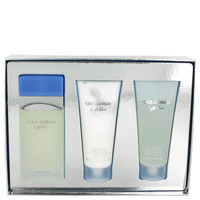 Light Blue Perfume by Dolce & Gabbana 3.4 oz Eau De Toilette Spray and 3.4 oz Body Cream and 3.4 oz Shower Gel