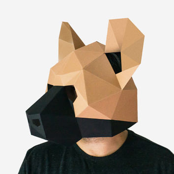 Make your own Hyena Mask, Animal Mask, Instant Pdf download, DIY Halloween Paper Mask, Printable  Low Poly Hyena Mask, Polygon Masks