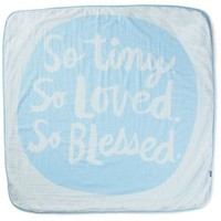 So Tiny, So Loved, So Blessed Blue Muslin Baby Blanket