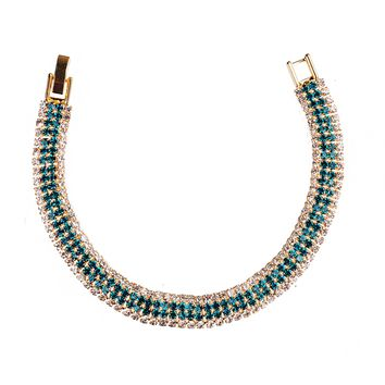 ON SALE - Deep Aqua Four Strand Gold and CZ Tennis Bracelet