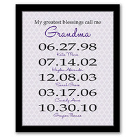 My Greatest Blessings Call Me Grandma, Grandma Gift, Mother's Day Gift, Birth Dates Art, Important Dates, Grandmother Gift, Personalized Art
