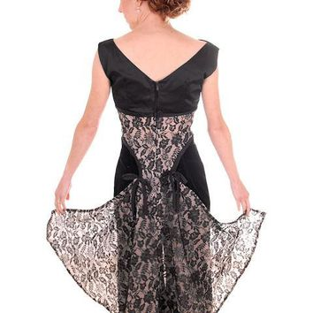Vintage Bodice Black Taffeta  & Lace Unique Half Dress 1950s Small