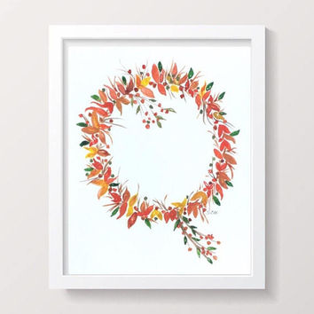 Autumn watercolor painting, Fall wreath print, Thanksgiving painting, Original flower print, watercolor wreath painting, orange and gold