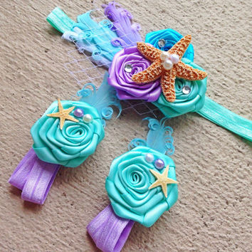 Mermaid Baby Barefoot Sandals Headband Set - Under the Sea Piggy Petals - Starfish Headband - Photo Props - Baby Girl Birthday Outfit