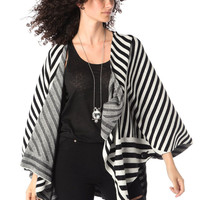 Black stripe knitted cape