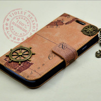 Vintage style world Map Samsung Galaxy S3 Case ,Leather Galaxy case with Bronze compass,rudder ,anchor