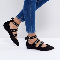 Glamorous Black Triple Buckle Ballet Flat Shoes at asos.com
