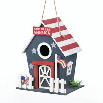 Set of 2 Small Patriotic Birdhouses for America