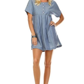 Women's Denim Button-Accent Scoop Neck Dress