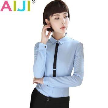 2017 women long sleeve blouse OL elegant turn-down collar Formal chiffon shirts ladies office work wear tops plus size s to 4xl