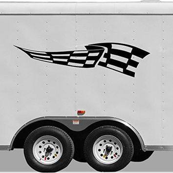 Checkered Flag Motor Cross Street Track Motorcycle Racing Trailer Decals Stickers Mural One Color 2 Graphics 2c
