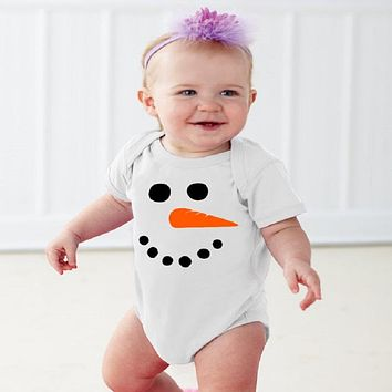 Newborn Baby Girls Boys Long Sleeve Bodysuit Christmas One Piece Lovely Snowman Jumpsuit Outfits For Baby