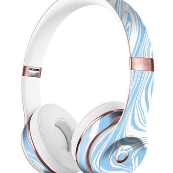Marbleized Swirling Soft Blue v91 Full-Body Skin Kit for the Beats by Dre Solo 3 Wireless Headphones
