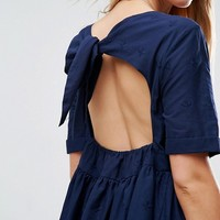 ASOS Broderie Smock Dress with Open Back Detail at asos.com