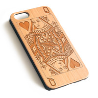 Poker Queen Natural wood iPhone case laser engraved iPhone 7 6 6S Plus case WA026
