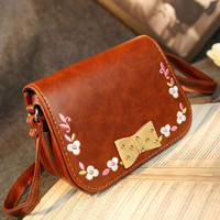 Folk Bowknot Embroidered Shoulder Bag Messenger Bag