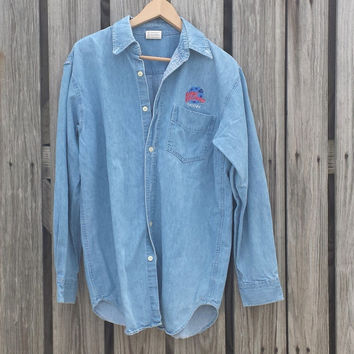Vintage Planet Hollywood PHOENIX Denim Shirt - USA MADE - Sz M