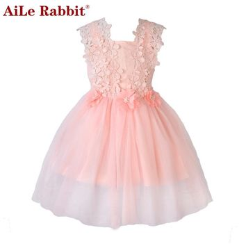 AiLe Rabbit Girls Dress Kids Clothes Children Girls Clothing Spring Lace Dress for Princess Holiday Party Wedding Baby Toddler