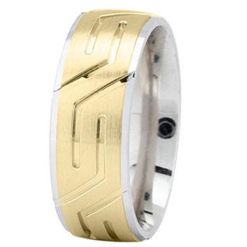 Wedding Band - White and Yellow Gold Superman Wedding Ring