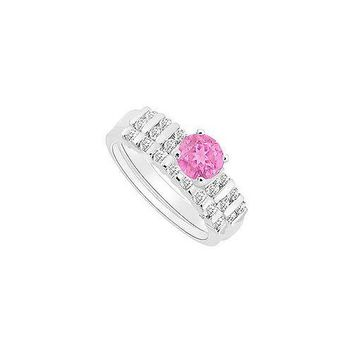 Pink Sapphire and Diamond Engagement Ring with Wedding Band Set : 14K White Gold - 0.65 CT TGW