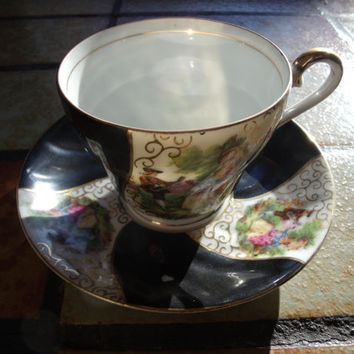 Vintage Porcelain China Pottery Ceramic Tea Or Coffee Cup And Saucer Hand Painted Transfer Ware With Gold Luster