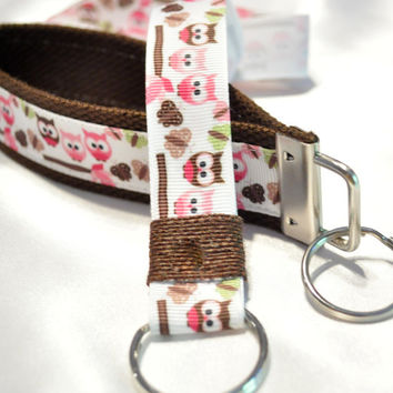 Adorable woodland owl keychain and lanyard set
