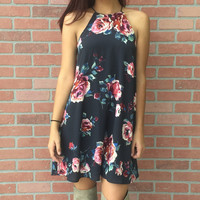 Back To Yesterday Dress- Charcoal