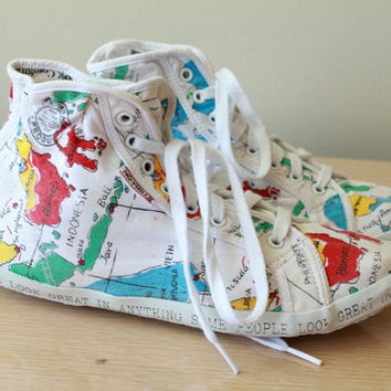 80s/90s - White - World Map - Novelty Print - Lace Up - High Top - Sneakers - Tennis Shoes - Womens 8.5/9