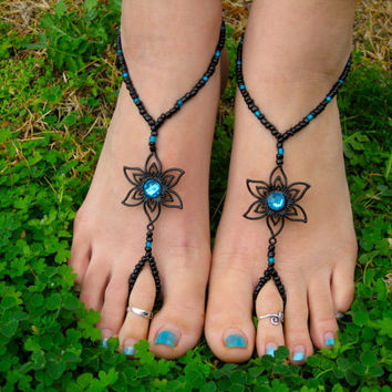 Black with Teal Flower Barefoot Sandals, Slave Anklet, foot jewelry, ankle bracelet with toe ring