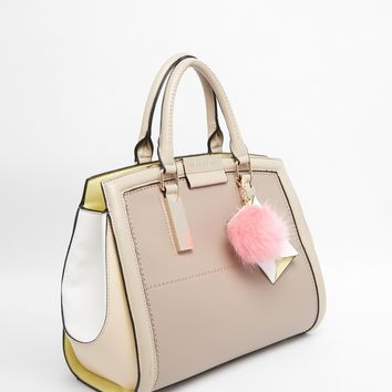 River Island Beige Pompom And Purse Ladybag